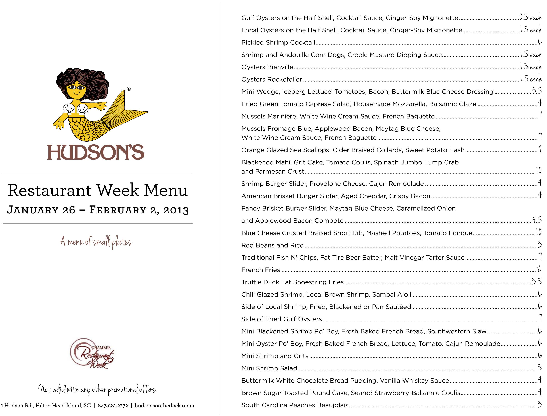 Hudsons Restaurant Week