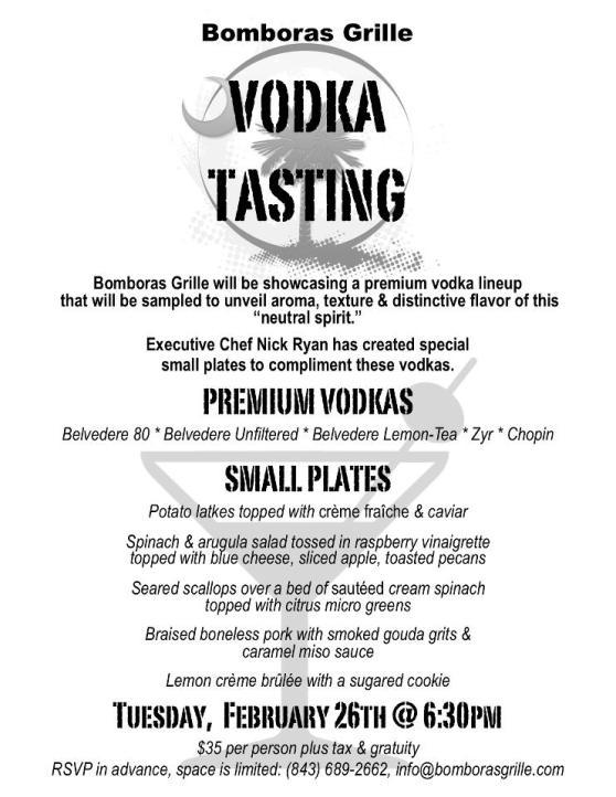Bomboras Grille Vodka Tasting Menu