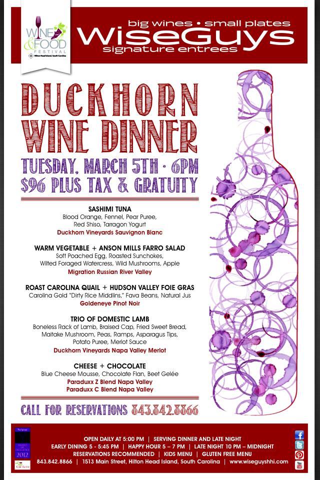 Wiseguys and Duckhorn Wine Dinner