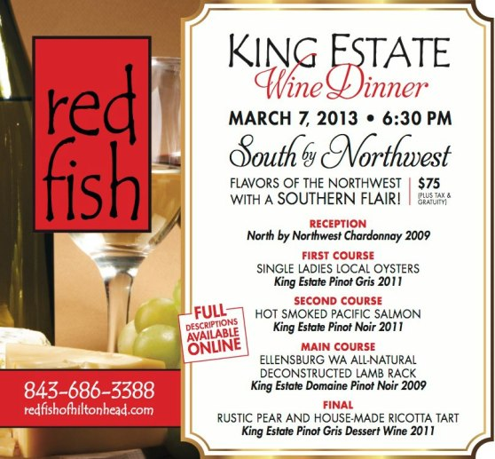 Red Fish and King Estate Wine Dinner