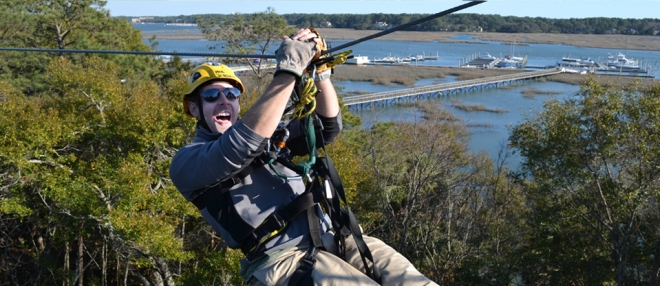 zipline-hilton-head-guy-flying-high