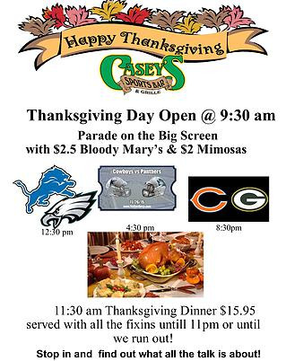 casey's t-giving menu