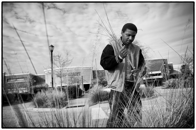 Mt. Pleasant resident Antwon Ford pulls sweetgrass from the landscaping in front of the Wal Mart near his home. Ford has been sewing the traditional Gullah sweetgrass baskets since he was 6.  The local Gullah residents have an agreement with the shopping center management to pull the grass that is necessary for making the baskets. Ford says this is the only place that remains available in Mt. Pleasant for the Gullah to pull the grass.