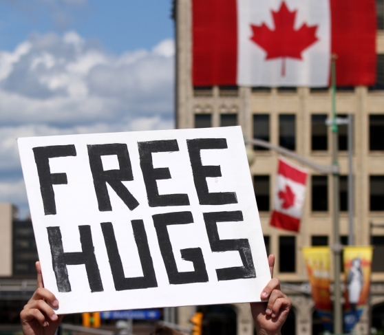 Free Hugs Sign on Canada Day