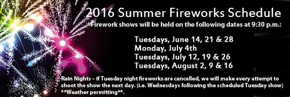 2016 firework schedule