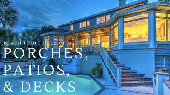porches, patios, & Decks text on twilight photo of porch with pool