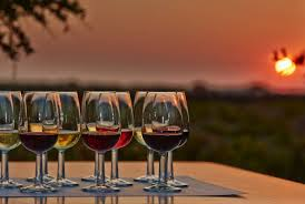 wine glasses at sunset
